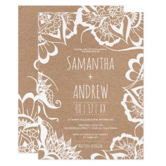 Boho rustikale Kraftpapier-Hochzeit weißer 12,7 X 17,8 Cm Einladungskarte