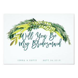 Boho rustikaler Wille sind Sie meine Brautjungfer 12,7 X 17,8 Cm Einladungskarte