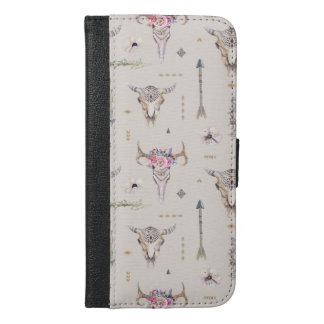 Boho Schädel, Blumen und Pfeil-Muster iPhone 6/6s Plus Geldbeutel Hülle