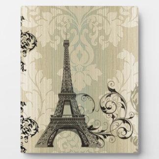 Boho schicker beige Damast-Paris-Eiffelturm Fotoplatte