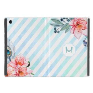 Boho versieht den Blumen Aquarell-Streifen mit iPad Mini Etui