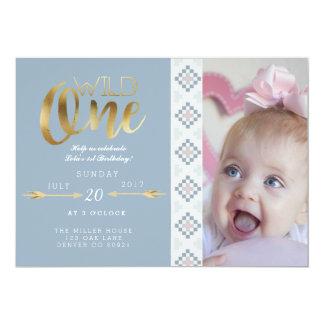 Boho wildes   erstes Geburtstags-Party 12,7 X 17,8 Cm Einladungskarte
