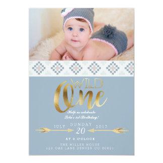 Boho wildes | erstes Geburtstags-Party 12,7 X 17,8 Cm Einladungskarte