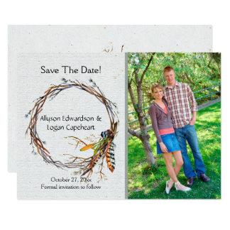 Boho Wreath versieht Blätter-Foto Save the Date   Karte