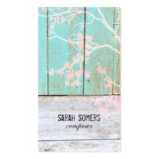 Bois rustique de turquoise de pays vintage minable carte de visite