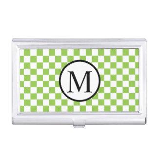 Boîtier Pour Cartes De Visite Monogramme simple avec le damier de vert jaune