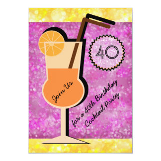 Bokeh Cocktail-Party-Geburtstags-Einladungen Karte