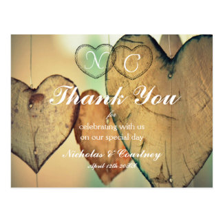 Bokeh Herzen danken Ihnen zu kardieren Postkarte