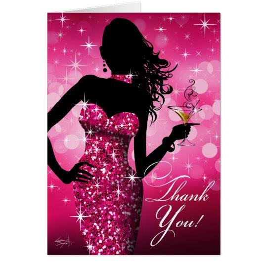 Bombe Bling Glitter danken Ihnen | Fuchsie Karte