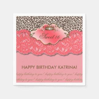 Bonbon 16 Geburtstags-Party-Kronen-Leopard-Koralle Papierservietten