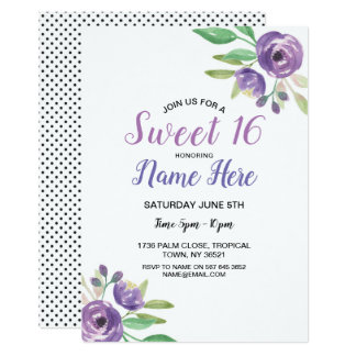Bonbon 16 Geburtstags-Party-lila Karte