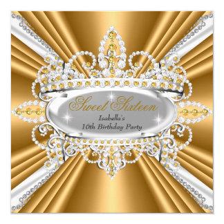 Bonbon 16 Geburtstags-Prinzessin Gold Diamonds Quadratische 13,3 Cm Einladungskarte