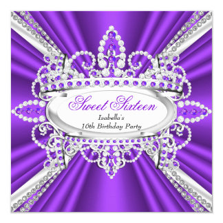 Bonbon 16 Geburtstags-Prinzessin Purple Diamonds Quadratische 13,3 Cm Einladungskarte