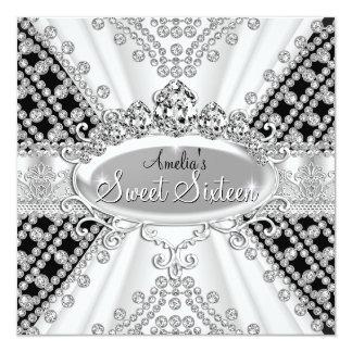 Bonbon 16 Geburtstags-Prinzessin schwarze Quadratische 13,3 Cm Einladungskarte
