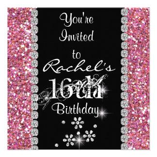 BONBON 16 ROSA Geburtstags-Party Einladung BLING