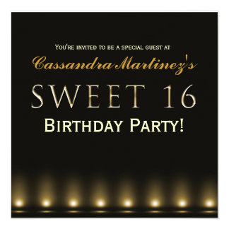 BONBON 16 Schwarze Goldhollywood Party Einladung