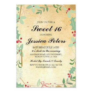 Bonbon das 16-rustikale Geburtstags-Vintage Laub 12,7 X 17,8 Cm Einladungskarte