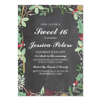 Bonbon die 16 Geburtstags-rustikales Kreide-Laub 12,7 X 17,8 Cm Einladungskarte