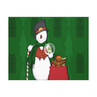 Bonhomme de neige avec un sac plein des présents toile tendue