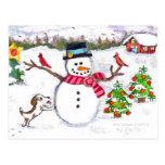 Bonhomme de neige d'hiver de Noël et carte postale