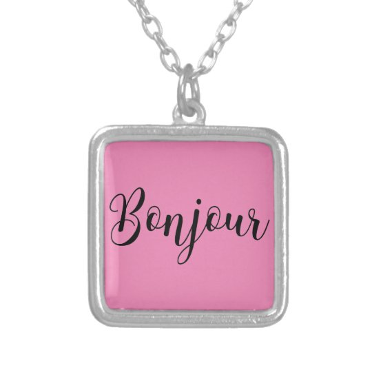 Bonjour-blackText Halskette Mit Quadratischem Anhänger