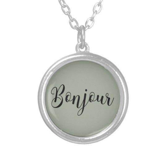 Bonjour-blackText Halskette Mit Rundem Anhänger