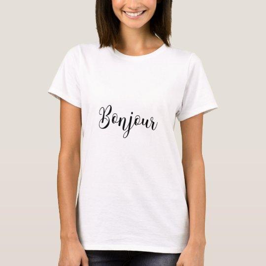 Bonjour-blackText T-Shirt