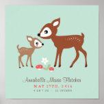 Bonjour cerfs communs ! Art de mur de crèche de bé Posters