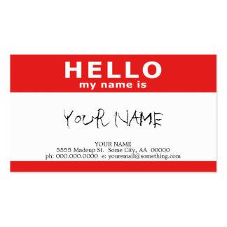 bonjour mon nom est : rouge cartes de visite professionnelles