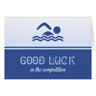 Bonne chance pour le bleu de nageur carte de vœux