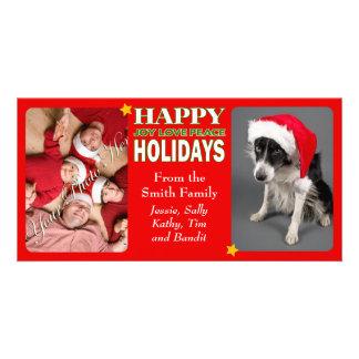 Bonnes fêtes 2 cartes de famille de photo photocarte