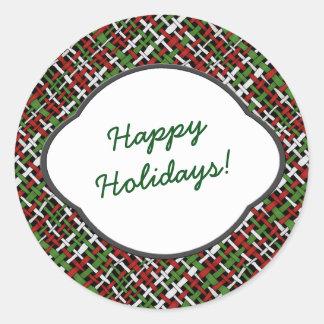 Bonnes fêtes saluant sur la toile de jute sticker rond