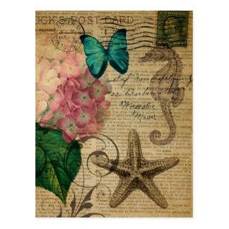 bontanical Kunstmode Vintagen Hydrangea Seashell Postkarte