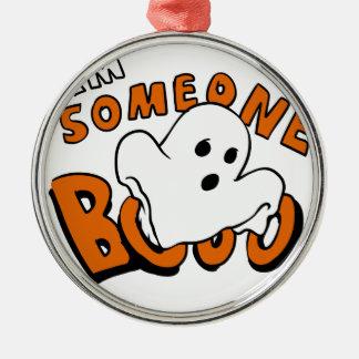 Boo - Cartoongeist - Babygeist - lustiger Geist Rundes Silberfarbenes Ornament