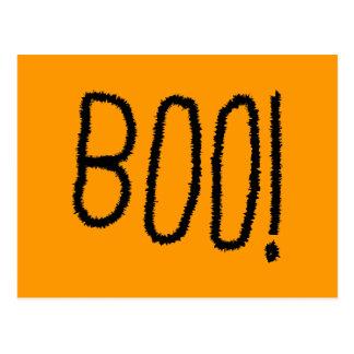 Boo! Gezackte gotische Schriften. Halloween Postkarten