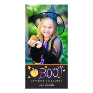 BOO | Halloween Dunkelheit der Foto-Karten-| Karte
