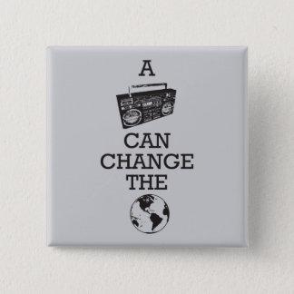 Boombox kann die Welt ändern Quadratischer Button 5,1 Cm