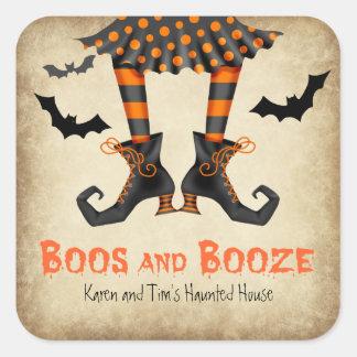 Boos-und Schnaps-Erwachsen-Halloween-Party Quadratischer Aufkleber