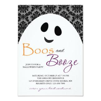 Boos-und Schnaps-Geist-graue Halloween-Einladungen Karte