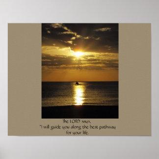 Boot am Sonnenuntergang Poster