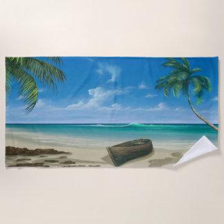 Boot auf Insel-tropisches Paradies-blauem Strandtuch