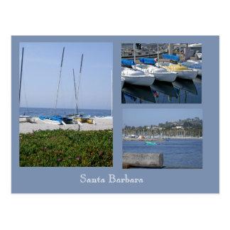 Boote an der Foto-Schablonen-Postkarte Santa Postkarte