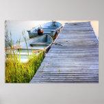 Boote durch das Dock Poster