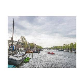 Boote im Amsterdam-Leinwanddruck Leinwanddruck