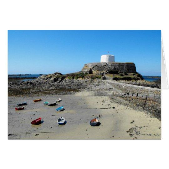 Boote und Fort-Grau in Guernsey Grußkarte