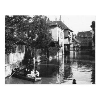 Bootfahrt auf dem Fluss Gera in Erfurt Postkarte