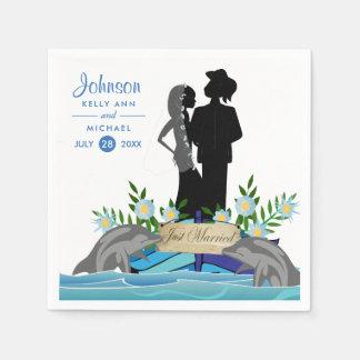 Boots-Delphin-Hochzeit Papierserviette