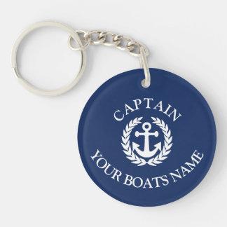Bootsname und Kapitänseeanker Schlüsselanhänger
