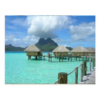 Bora Bora Bungalow-Postkarte Postkarte