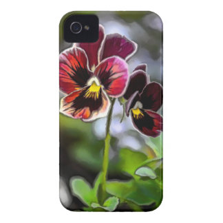 Bordeauxpansy-Blumen-Duo Case-Mate iPhone 4 Hüllen